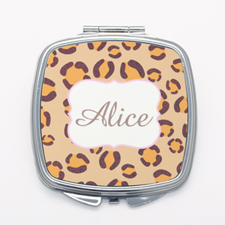 Leopard Skin Personalized Square Mirror