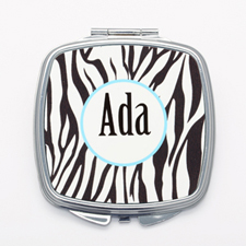 Black Zebra Print Personalized Square Mirror