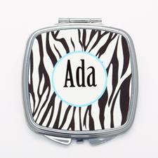 Black Zebra Print Personalized Square Mirror