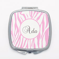 Pink Zebra Print Personalized Square Mirror