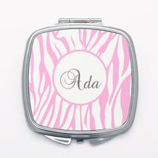 Pink Zebra Print Personalized Square Mirror
