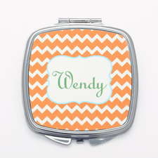 Orange Chevron Personalized Mirror