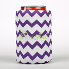 Purple Chevron Embroidery Personalized Can Cooler