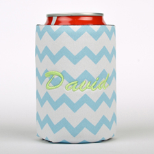 Baby Blue Chevron Embroidery Personalized Can Cooler