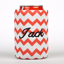 Red Chevron Embroidery Personalized Can Cooler