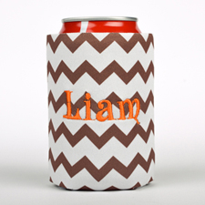 Chocolate Chevron Embroidery Personalized Can Cooler