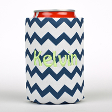 Navy Chevron Embroidery Personalized Can Cooler