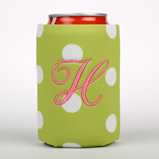 Lime Dot Embroidery Personalized Can Cooler