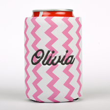 Pink Zig Zag Embroidery Personalized Can Cooler