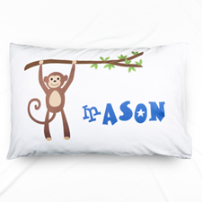 Monkey Personalized Name Pillowcase For Boys