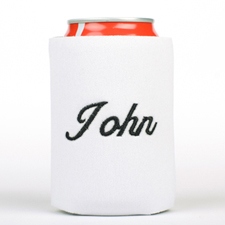 White Monogrammed Personalized Embroidered Can Cooler
