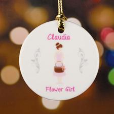 Flower Girl Personalized Ceramic Ornament