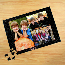 Personalized Black 3 Collage 12X16.5 Photo Puzzle