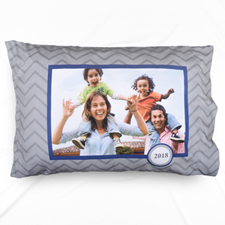 Grey Chevron Personalized Photo Pillowcase