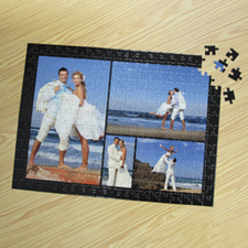 Personalized Black 4 Collage 12X16.5 Photo Puzzle