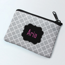 Grey Clover Black Personalized Coin Purse