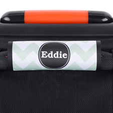 Aqua Chevron Black Personalized Luggage Handle Wrap