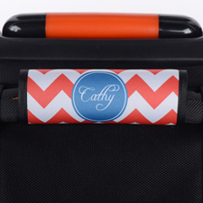 Red Chevron Blue Personalized Luggage Handle Wrap