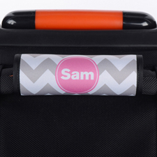 Grey Chevron Pink Personalized Luggage Handle Wrap