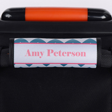 Peacock Chevron Pink Personalized Luggage Handle Wrap