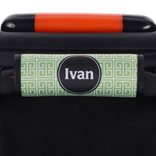 Green Black Greek Key Personalized Luggage Handle Wrap
