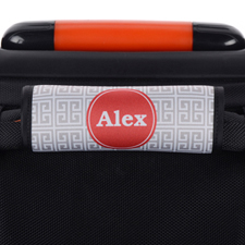 Grey Greek Key Personalized Luggage Handle Wrap