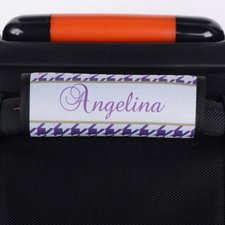 Purple Hounds Tooth Personalized Luggage Handle Wrap