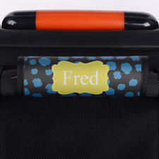 Blue Yellow Leopard Personalized Luggage Handle Wrap