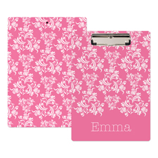 Pink Damask Personalized Clipboard