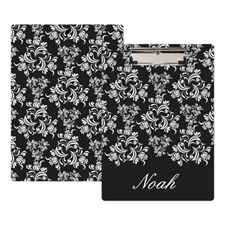 Black Damask Personalized Clipboard