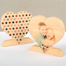 Classic Polka Dot Wooden Photo Heart Decor