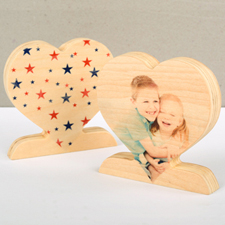 Patriotic Star Wooden Personalized Photo Heart Decor
