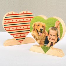 Star and Stripe Wooden Personalized Photo Heart