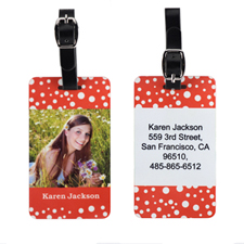 Red Polka Dot Custom Photo Luggage Tag