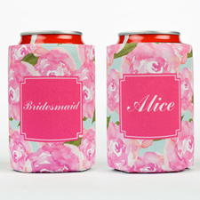 Watercolor Rose Personalized Can Cooler