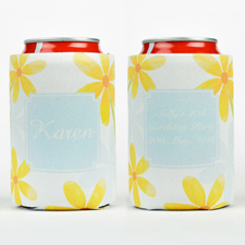 Watercolor Daisies Personalized Can Cooler