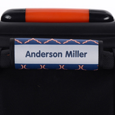Blue Orange Quatrefoil Personalized Luggage Handle Wrap
