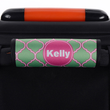 Peacock Quatrefoil Pink Personalized Luggage Handle Wrap
