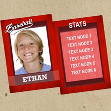 Red Baseball Personalized Photo Trading Cards  Set Of 12