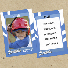 Swirl Baseball Personalized Photo Trading Cards Blue  Set Of 12