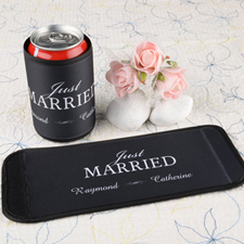 Just Married Personalized Can And Bottle Wrap Black