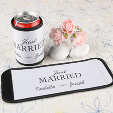 Just Married Personalized Can And Bottle Wrap White