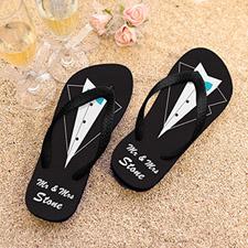 Mr. Personalized Wedding Flip Flops, Men Small