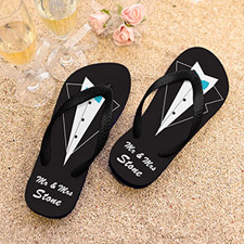 Mr. Personalized Wedding Flip Flops, Women Medium