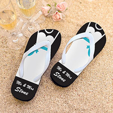 Mrs. Personalized Wedding Flip Flops, Men Medium