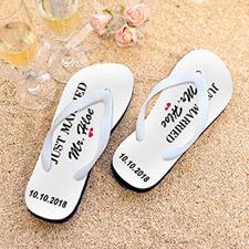 Just Married Personalized Flip Flops, Women Medium
