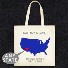 State Map Personalized Wedding Tote Bag