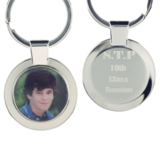 Personalized Photo And Engraved Back Metal Round Keychain