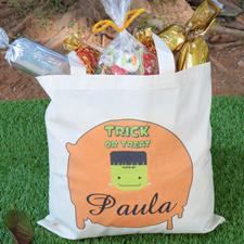 Frankestein Personalized Halloween Trick or Treat Bag