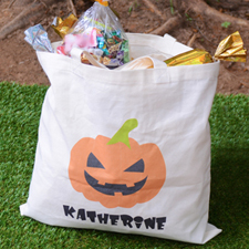 Pumpkin Personalized Trick Or Treat Bag